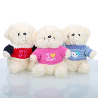 Cute Soft Clothes Plush Toys Stuffed Teddy Bear Animal Hanging Toy Decoration 3 Color Red Blue Pink