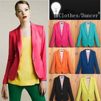 XS-XL  New 2014 Fashion Single buckle Candy color small Blazers 6 color Slim blazer women Free Shipping
