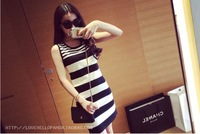 Spring and summer Korean OL style stripes sleeveless vest dress