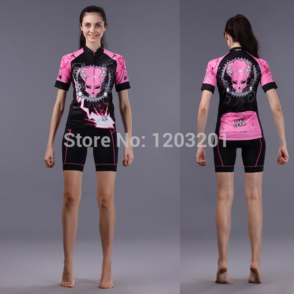 2014 Nova CHEJI Feminino respirável equitação desgaste da bicicleta 3D GEL acolchoados Shorts Ciclismo manga curta Curb sets cadeia Mulheres de bicicleta Jersey(China (Mainland))