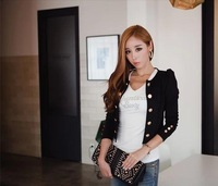 2014 New Black Blazers Feminino Fashion Full Sleeve Ladies Short Slim Suits Autumn & Winter Casual Overcoat