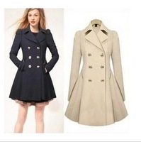 2014 Autumn Trench Coat For Women Abrigos Mujer Slim Medium-long Double Breasted Free Shipping