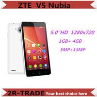 "Original ZTE V5 Nubia Red Bull MSM8926 Quad Core Android 4.2 5"" HD 1280x720 4GB ROM 13MP Camera OTG GPS  WCDMA Mobile Phone"