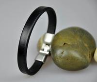 Classic  Cool New Men Genuine  Leather  Wrap Bracelet Wristband Cuff  Black