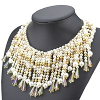 2014 new design high quality fashion brand jewelry necklace for women multi layer  pearl tassel beads choker statement necklace