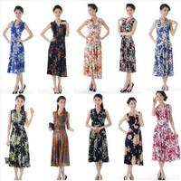 women summer fashion V-neck full dress