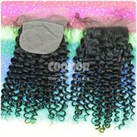 Hot selling products grade 7a silk base closure 4*4 unprocessed human hair curly free style top closure fast shipping by dhl