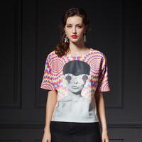 YIGELILA 7224 Europe Style Women Hot T O-neck Print Short Sleeve Women Shirt Blouses Free Shipping