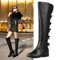 Bowknot Elegant Knee High Boots,Black Genuine Leather Over Knee Boots,Plus Size 34-43 Winter Warm Long Boots