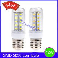 Free shipping 5pcs 12W led corn bulb 36led SMD 5630 AC220V or AC110V white or warm white 360degree led lighting