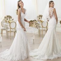 sexy mermaid wedding dress French lace wedding dress bridal flowers perspective trailing fishtail 2014 new vestido de noiva 388