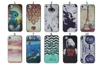 10pcs/lot New Arrival 10 designs 3D Fashion painting Hard Case for iPhone 4/4S,Free shipping