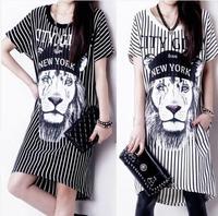 2014 summer women's loose shitou stripe print short-sleeve basic slim hip skirt one-piece dress
