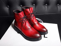 2014 winter top quality leather boots/ women mid-calf martin boots/red/black/square low-heel boots with platform/free shipping