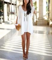 2014 new sexy women summer chiffon  dress  women loose sexy V-neck strapless A line casual mini shirt dress white beach dresses