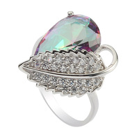 Fashion Wholesale  CZ Rainbow Mystic Cubic Zirconia Romantic S 925 sterling Silver fashion ring  R--3730 sz#6 7 8 9
