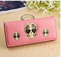 Free Shipping 2014 new wallet Miss Han Ban Long Wallet Skull Women's Wallets