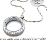 Wholesale - 5pcs 25mm Silver Crystal Circle Living Memory Locket Necklace For Floating Charm