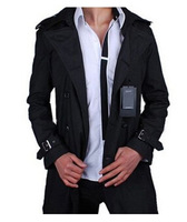 2014 men's coat spring summer thin long jacket slim fit dust coat outwear fashion 3XL