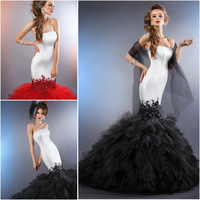JM.Bridals CY3262 Most Beautiful Black or Red Appliques Beaded Tulle Satin Strapless 2015 mermaid wedding dress