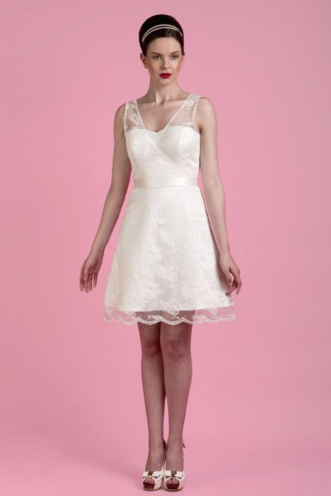 Elegante Novo Modelo Econ?mico A linha V -Neck Weddingdress Curto Made In China WX11645(China (Mainland))