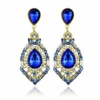 earrings 2014 crystal rhinestone dangle earrings sapphire drop party earrings for women