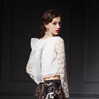 YIGELILA 7212 Latest Autumn New Elegant Back Bow Lace Long Sleeve Women Shirt  Free Shipping