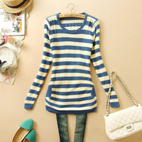 Striped Long Sleeve O-neck Basic Sweater Pullover 2014 Winter Knitted Cotton Desigual Sweters Free Shipping