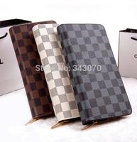 Free shipping fashion new 2014 women wallets long zipper plaid design print small wallet men and women male female general purse