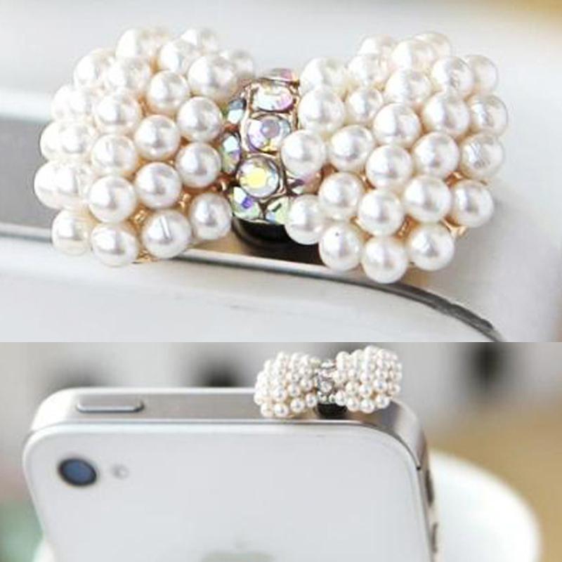 Sweet Pearl Heart Earphone Dust Plug Sweetheart Mobile Phone Smartphone Plug Ear Cap Rhinestone Pluggy XMHM229(China (Mainland))
