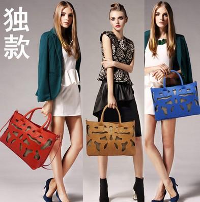 New 2014 Tide Women Fashion Bag European Cow Leather Hollow Out Crocodile Pretty Nice Lady Handbag High Range(China (Mainland))