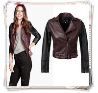 2014 New Fashion Women Winter Brand Faux Motorcycle Leather Jacket Short Coat Turn-down Collar Pocket Zipper Sash Slim Outerwaer