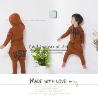 2014 Autumn Boy Clothing Set Brown USA Sport Style Hoodies Children Clothes Kids Apparel Free Shipping