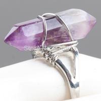 1Pc Hexagon Prism Amethyst Quartz Gem Stone Healing Chakra Beads Finger Ring Jewelry US 7.25