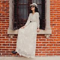 wholesale 2014 Autumn Vintage Embroidery lace long sleeves Swing hem dress