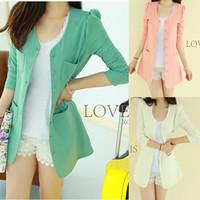 2014 new autumn blazer suit jacket and long sections Korean women Slim temperament round neck wild
