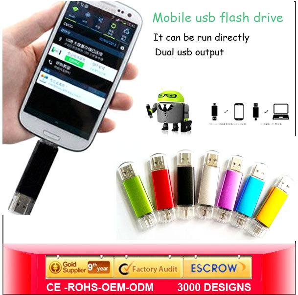 2014 New 8GB 16GB 32GB Mini Smart Phone Tablet PC USB Flash Drive Pendrive OTG External Storage Micro 64g Memory Stick 2.0(China (Mainland))