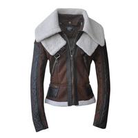 2014 autumn and winter women's European and American fur locomotive double collar zipper suede Lamb Fur leather jacket 0072802