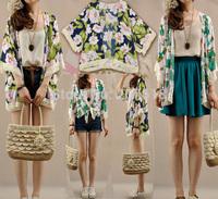 Summer 2014 New Elegant Plus Size Women Print Tassels Cardigan Poncho Tops Shirts Cape Blouses Cover Up
