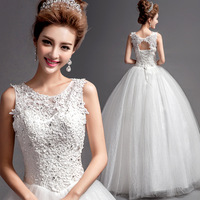 New 2014 Lady Organza Diamond Embroidery V-Neck Tank Lace UpFloor Length Backless Empire Wedding Dress Bridal Ball Gown