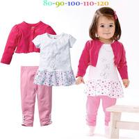 New 2015 Autumn girls long sleeve Shawl coat + dress + pants 3pcs set Children casual clothing suit kids fashion wear 5set/lot