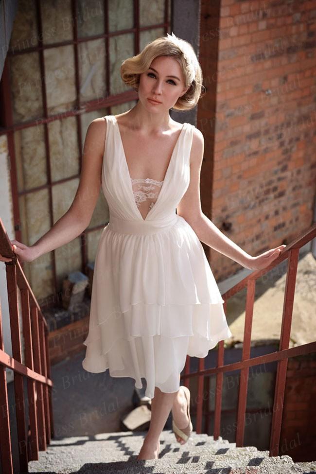 2014 barato Handmade Bainha V -Neck Chiffon vestido de noiva curto WX11624(China (Mainland))