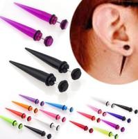 1pair UV Acrylic Fake Ear Stretcher Earring taper spike cheater expander earing