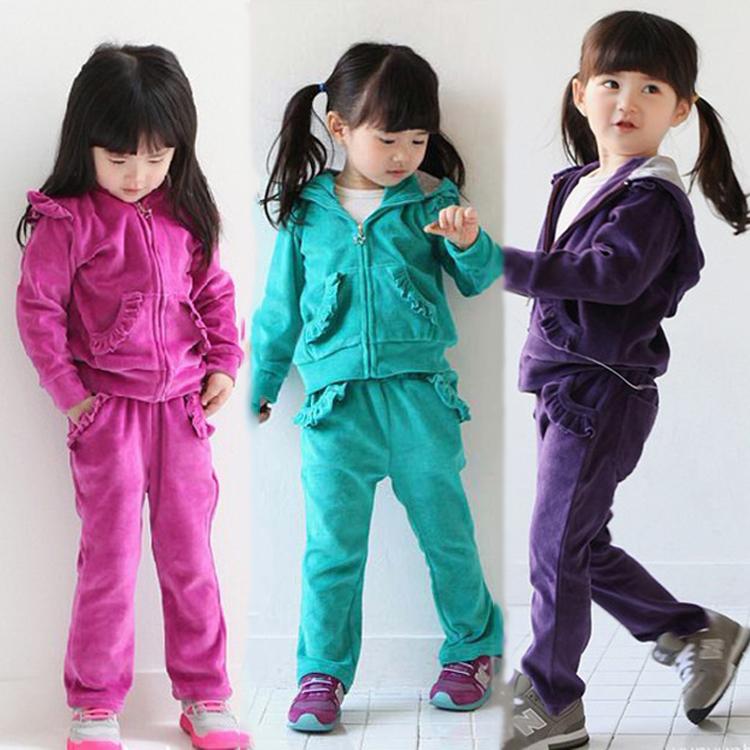 Arriva un nuovo vestito di marca ragazze sport felpe con cappuccio a maniche lunghe bambini set jacket+pants 2 pezzi abbigliamento capospalla set, giacche bambini