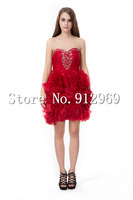 Free shipping custom made sweetheart ruffles short evening dress with beading fashionable dresses for chubby girls
