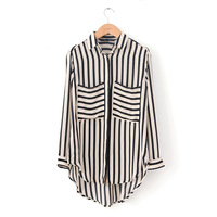 new women slim thin stripe loose long paragraph shirt