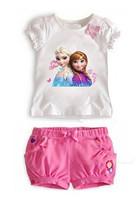 2014 Summer New arrival Summer Girls Frozen Elsa&Anna Princess Clothing Sets 2-6 Yrs Baby&Kids Cute T-Shirt+ Pink Shorts suits