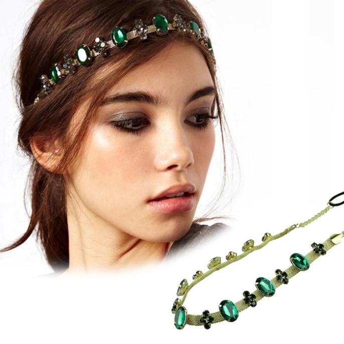 New Fashion Hair Jewelry Green Glass Stone Gold Chain Headbands For Women Headwear Hair Accessories quality