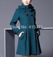 2014 New Arrival European Fashion Style Plus Size Woolen Coat For Women Women's Slim Stylish Long Coat In Autumn and Winter