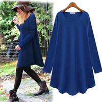 2014 Spring Autumn Women's Dress European  Long Section Of Loose Primer Shirt Female Long-sleeve Dress shirt Pink Blue Black